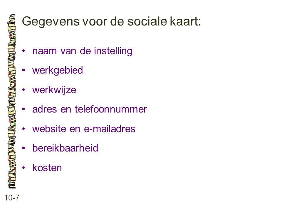 Gegevens voor de sociale kaart: 10-7 naam van de instelling werkgebied werkwijze adres en telefoonnummer website en e-mailadres bereikbaarheid kosten