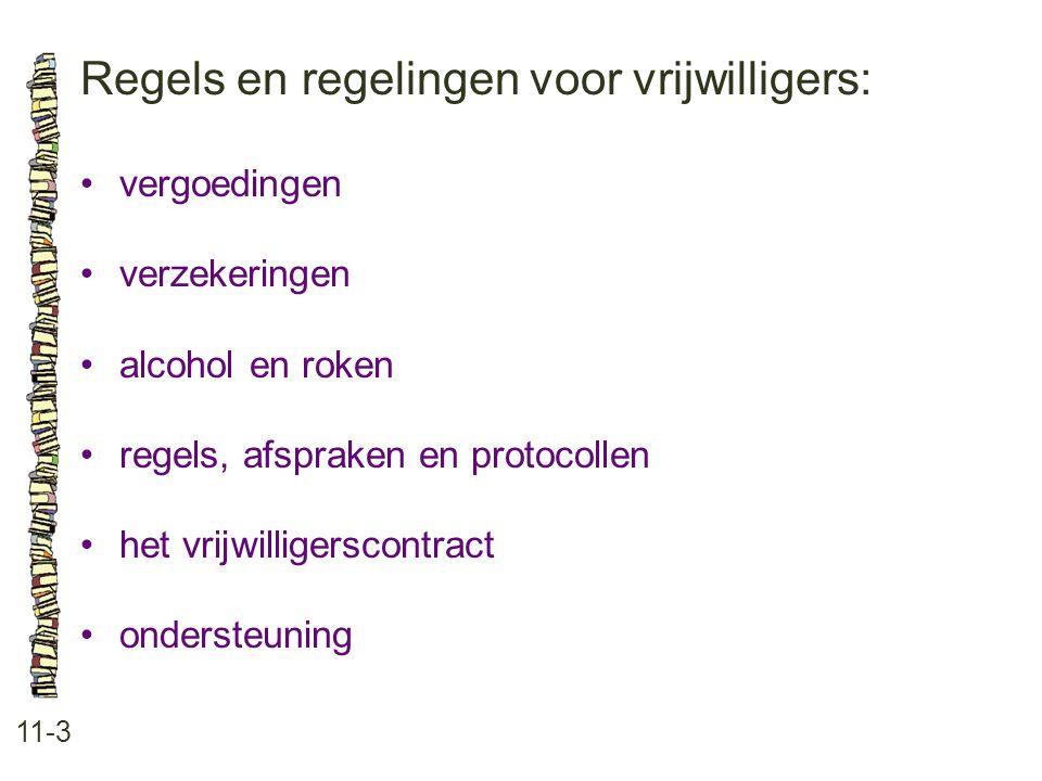 Regels en regelingen voor vrijwilligers: 11-3 vergoedingen verzekeringen alcohol en roken regels, afspraken en protocollen het vrijwilligerscontract ondersteuning