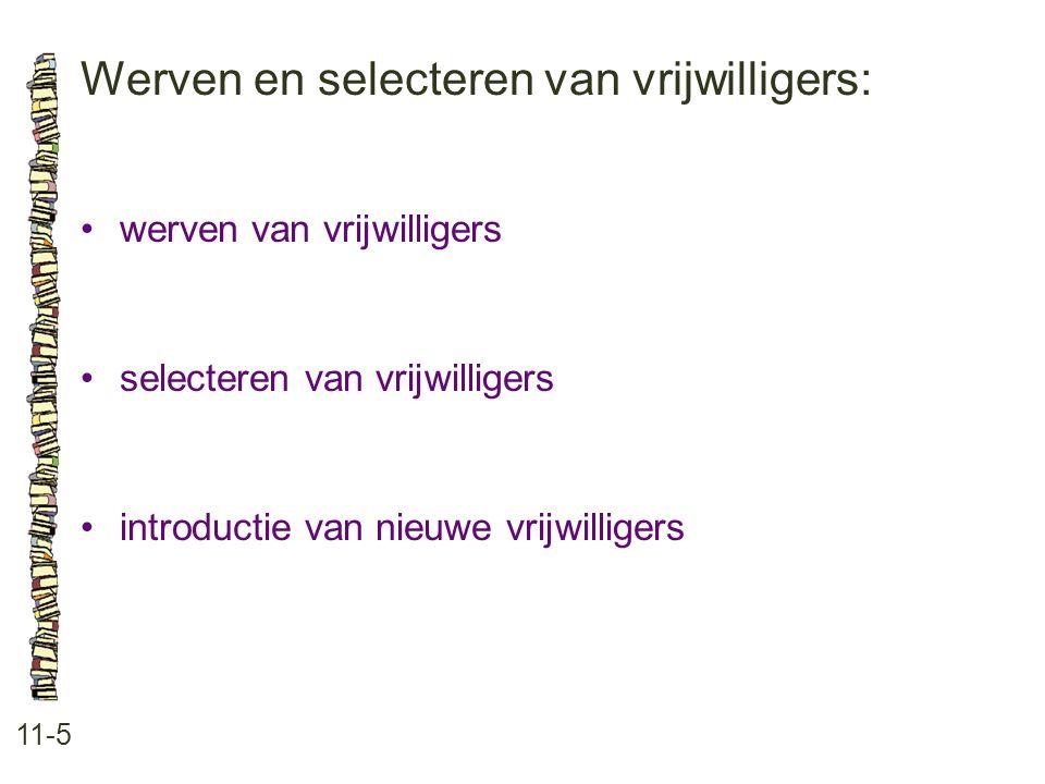 Werven en selecteren van vrijwilligers: 11-5 werven van vrijwilligers selecteren van vrijwilligers introductie van nieuwe vrijwilligers