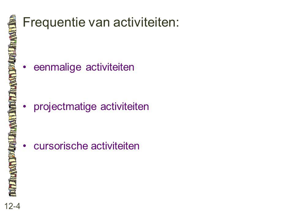 Frequentie van activiteiten: 12-4 eenmalige activiteiten projectmatige activiteiten cursorische activiteiten