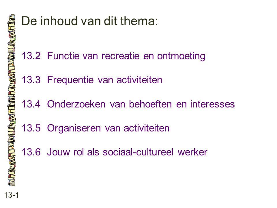 De inhoud van dit thema: 13-1 13.2Functie van recreatie en ontmoeting 13.3 Frequentie van activiteiten 13.4 Onderzoeken van behoeften en interesses 13.5 Organiseren van activiteiten 13.6 Jouw rol als sociaal-cultureel werker