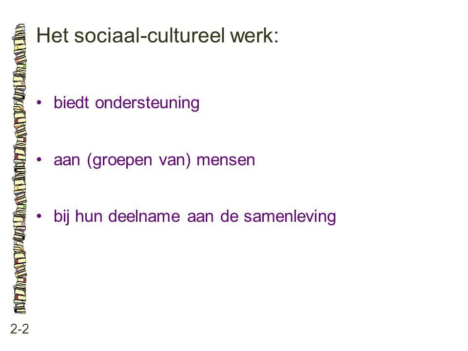 Het sociaal-cultureel werk: 2-2 biedt ondersteuning aan (groepen van) mensen bij hun deelname aan de samenleving