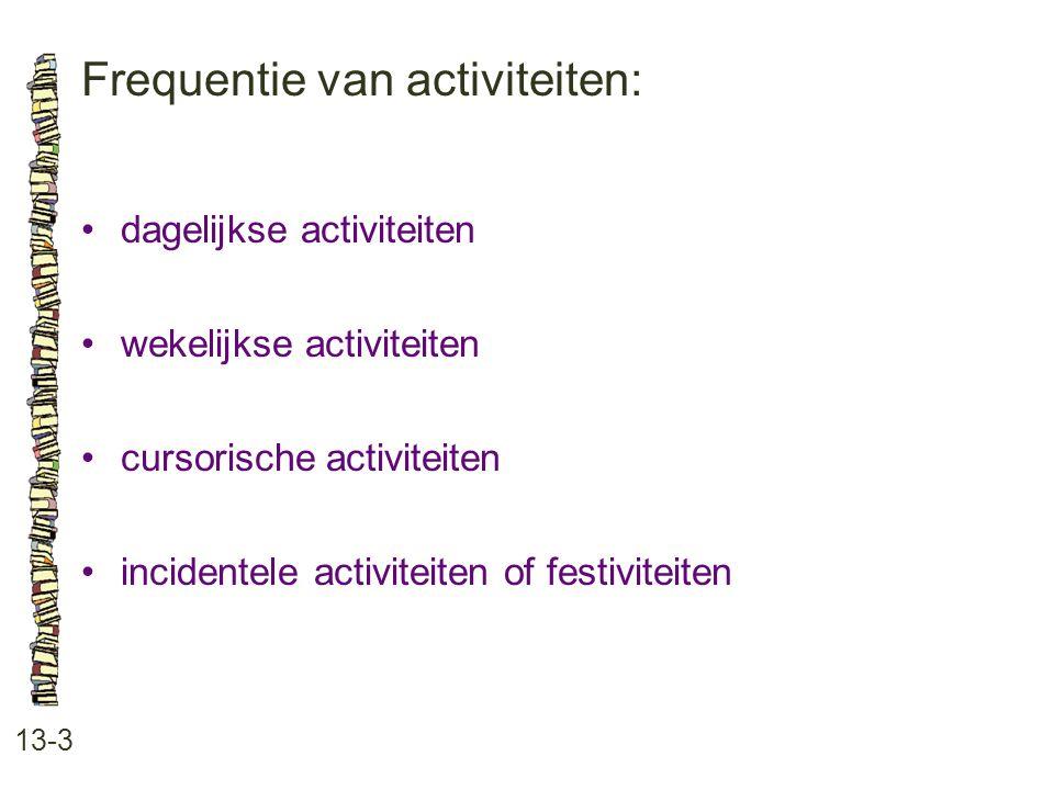 Frequentie van activiteiten: 13-3 dagelijkse activiteiten wekelijkse activiteiten cursorische activiteiten incidentele activiteiten of festiviteiten