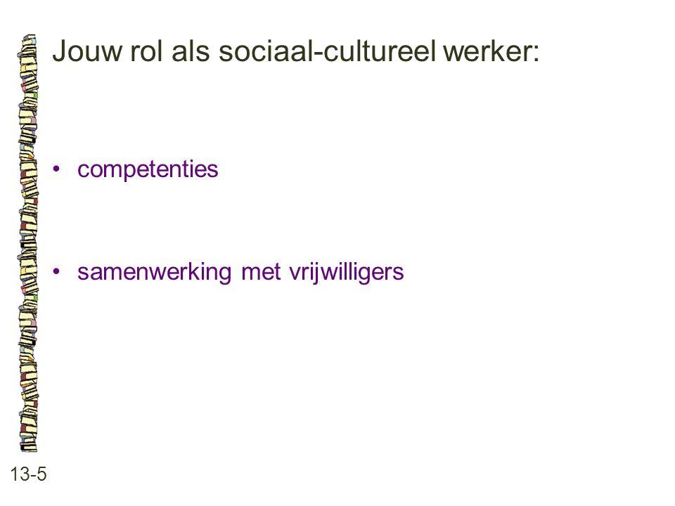 Jouw rol als sociaal-cultureel werker: 13-5 competenties samenwerking met vrijwilligers