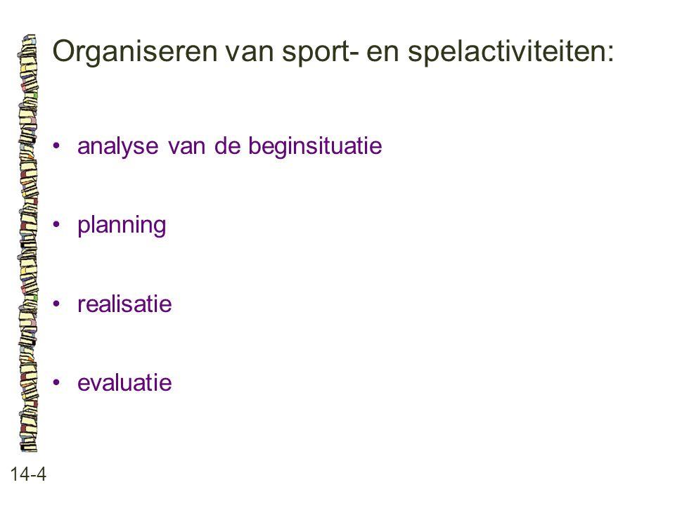 Organiseren van sport- en spelactiviteiten: 14-4 analyse van de beginsituatie planning realisatie evaluatie