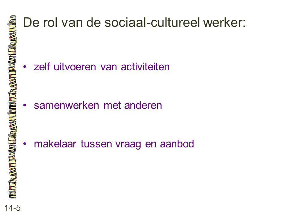 De rol van de sociaal-cultureel werker: 14-5 zelf uitvoeren van activiteiten samenwerken met anderen makelaar tussen vraag en aanbod