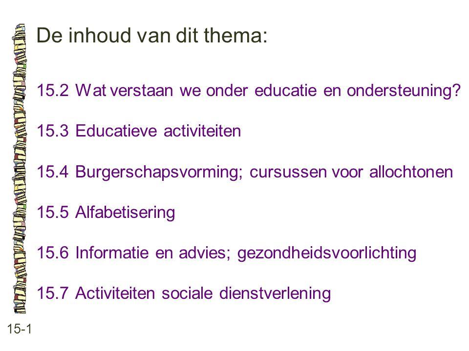 De inhoud van dit thema: 15-1 15.2Wat verstaan we onder educatie en ondersteuning? 15.3 Educatieve activiteiten 15.4 Burgerschapsvorming; cursussen vo