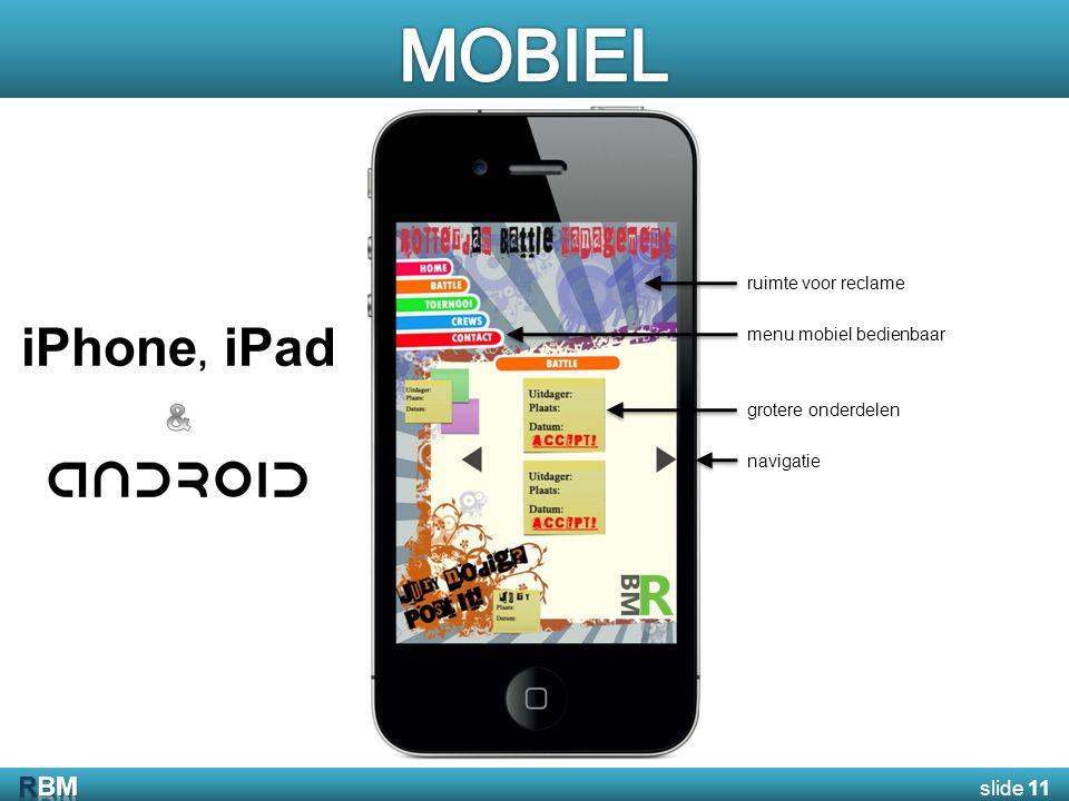 ruimte voor reclame menu mobiel bedienbaar grotere onderdelen navigatie