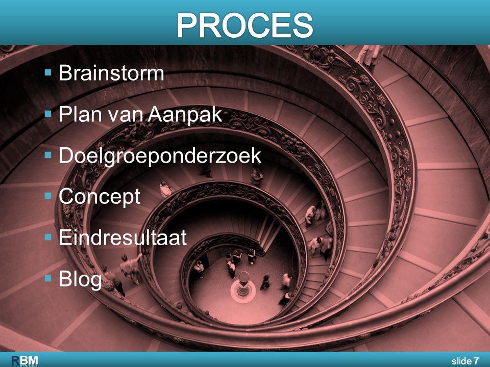  Brainstorm  Plan van Aanpak  Doelgroeponderzoek  Concept  Eindresultaat  Blog