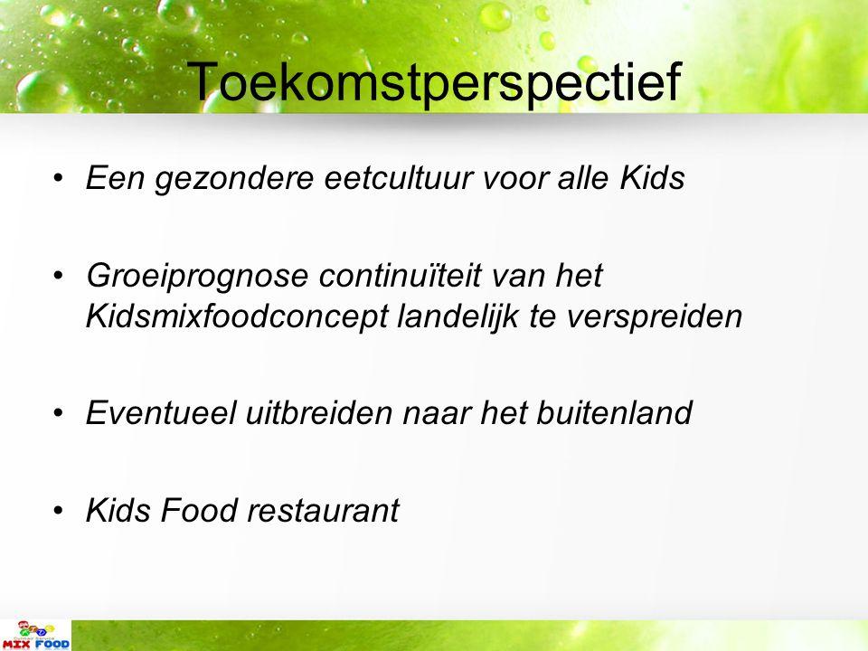 Toekomstperspectief Een gezondere eetcultuur voor alle Kids Groeiprognose continuïteit van het Kidsmixfoodconcept landelijk te verspreiden Eventueel uitbreiden naar het buitenland Kids Food restaurant
