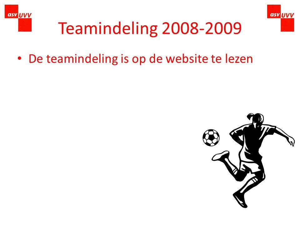 Teamindeling 2008-2009 Eerste 3 zaterdagen worden gebruikt om tot een eerlijke verdeling te komen Inbreng van teamleiders Gelijkwaardige teams Herindeling teams
