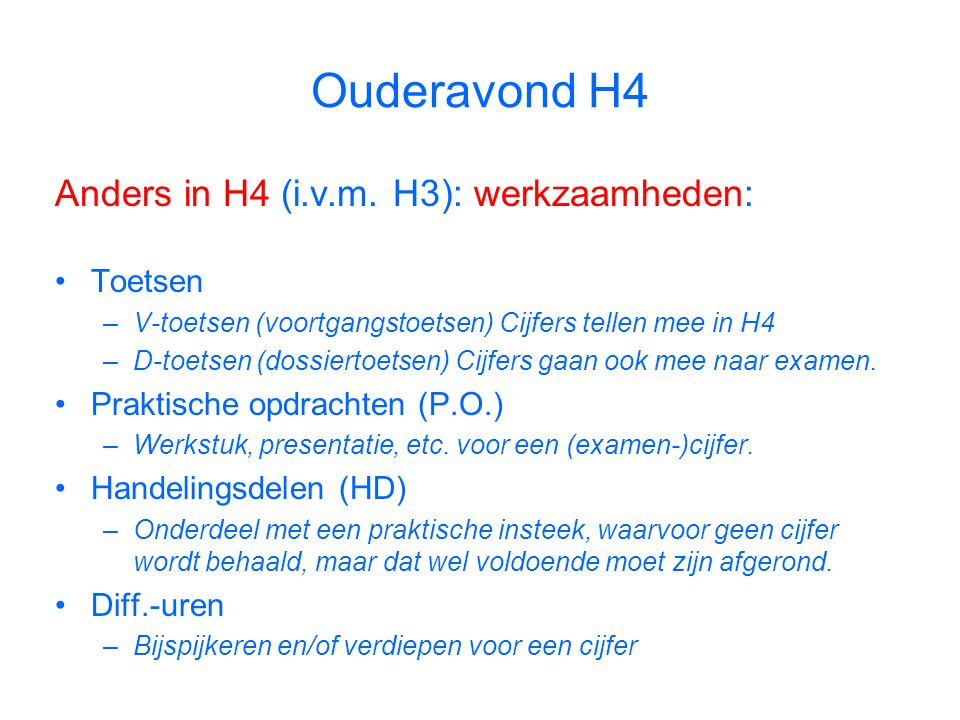 Ouderavond H4 Anders in H4 (i.v.m.