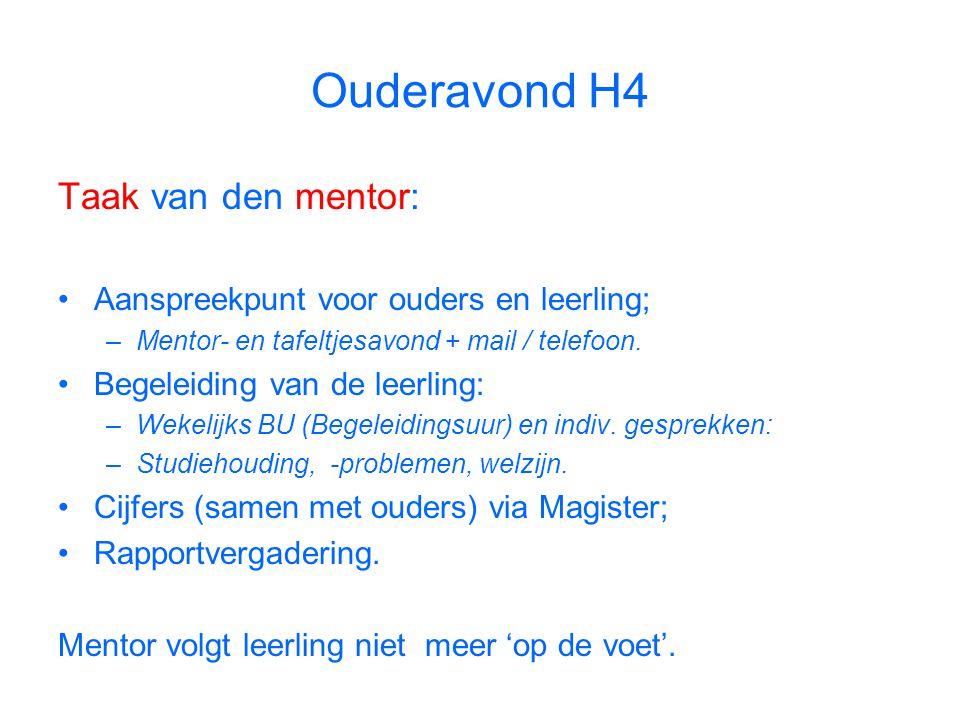 Ouderavond H4 Taak van den mentor: Aanspreekpunt voor ouders en leerling; –Mentor- en tafeltjesavond + mail / telefoon.