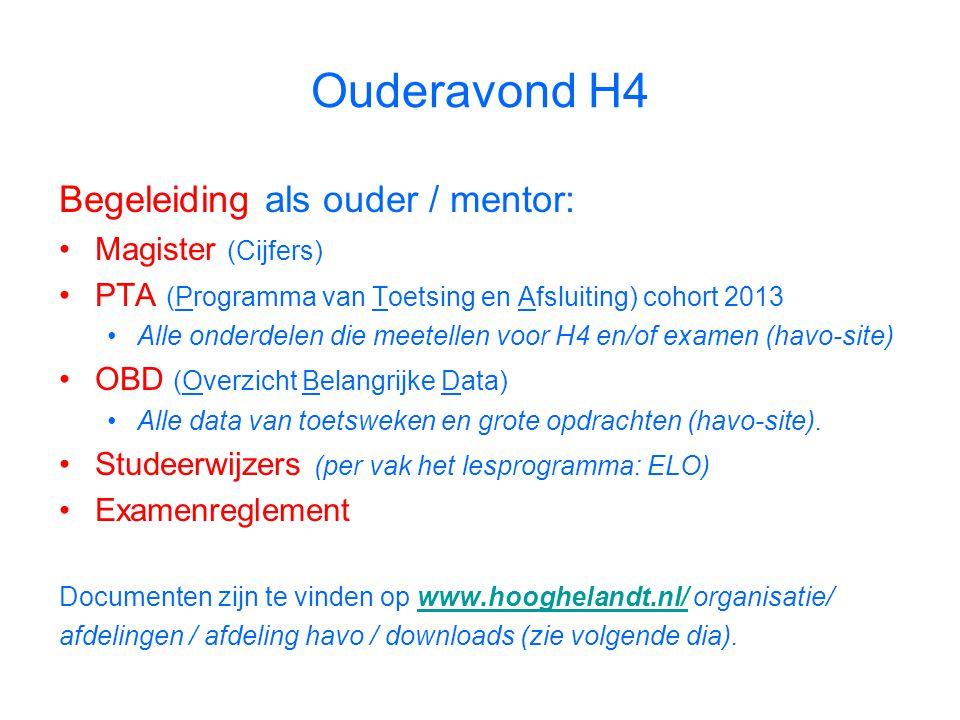 Begeleiding als ouder / mentor: Magister (Cijfers) PTA (Programma van Toetsing en Afsluiting) cohort 2013 Alle onderdelen die meetellen voor H4 en/of examen (havo-site) OBD (Overzicht Belangrijke Data) Alle data van toetsweken en grote opdrachten (havo-site).