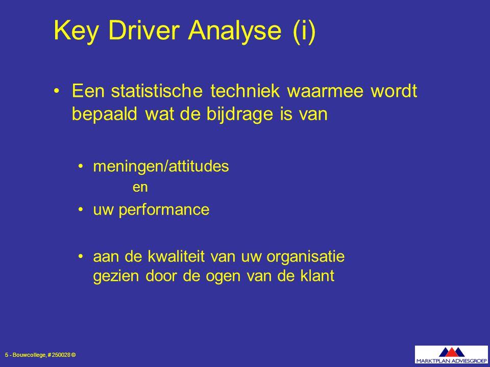 6 - Bouwcollege, # 250028 © Key Driver Analyse (ii) Impact: uitvloeisel van de key driver analyse bepaalt het relatieve belang van de processen en attributen behorende bij de processen Impact wordt objectief berekend op basis van uitkomsten onderzoek  er wordt niet naar gevraagd in vragenlijst Impact loopt van 0 tot 1 proces met waarde 0,40 is twee keer zo belangrijk dan een proces met waarde 0,20