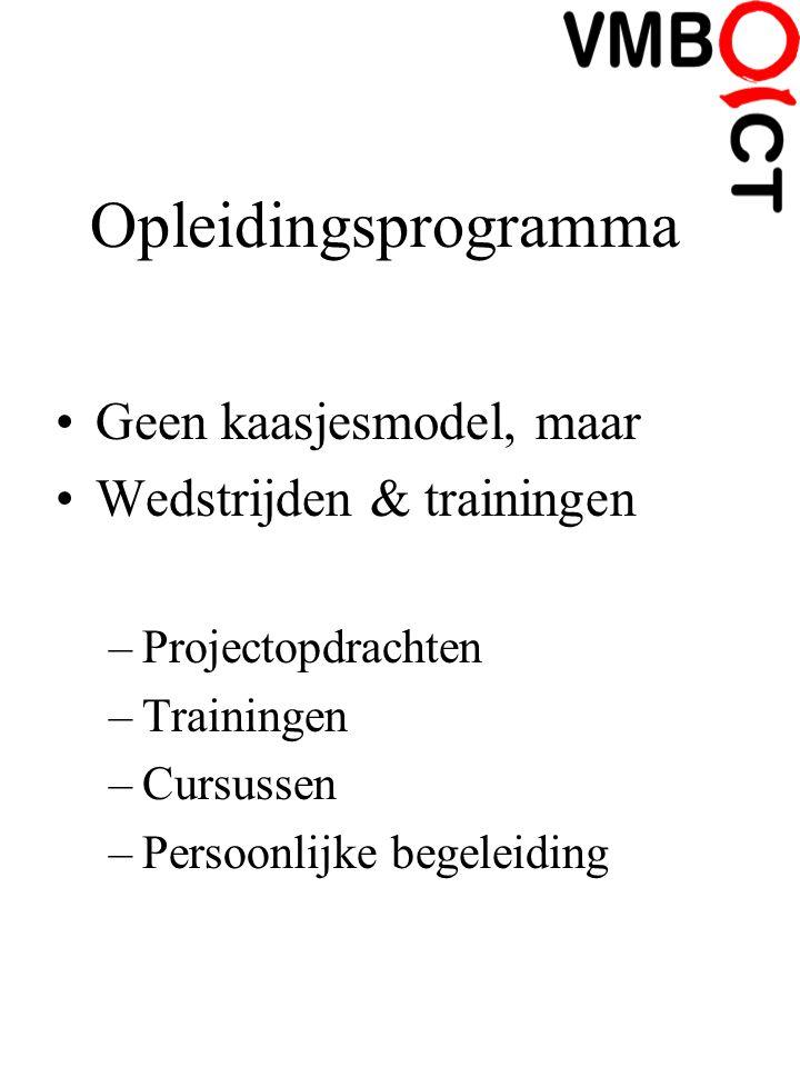 Opleidingsprogramma Geen kaasjesmodel, maar Wedstrijden & trainingen –Projectopdrachten –Trainingen –Cursussen –Persoonlijke begeleiding