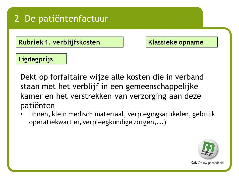 2 De patiëntenfactuur Ligdagprijs Dekt op forfaitaire wijze alle kosten die in verband staan met het verblijf in een gemeenschappelijke kamer en het v