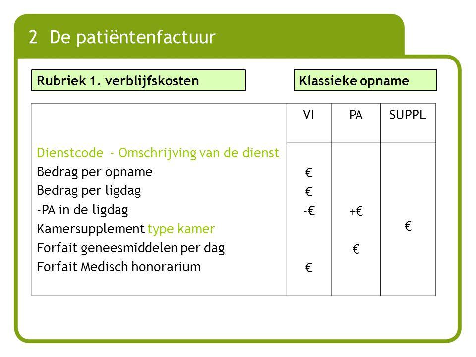 Dienstcode - Omschrijving van de dienst Bedrag per opname Bedrag per ligdag -PA in de ligdag Kamersupplement type kamer Forfait geneesmiddelen per dag