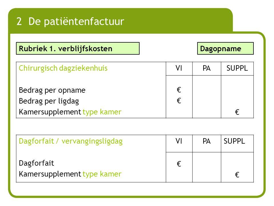 Rubriek 1. verblijfskosten 2 De patiëntenfactuur Dagopname Chirurgisch dagziekenhuis Bedrag per opname Bedrag per ligdag Kamersupplement type kamer VI