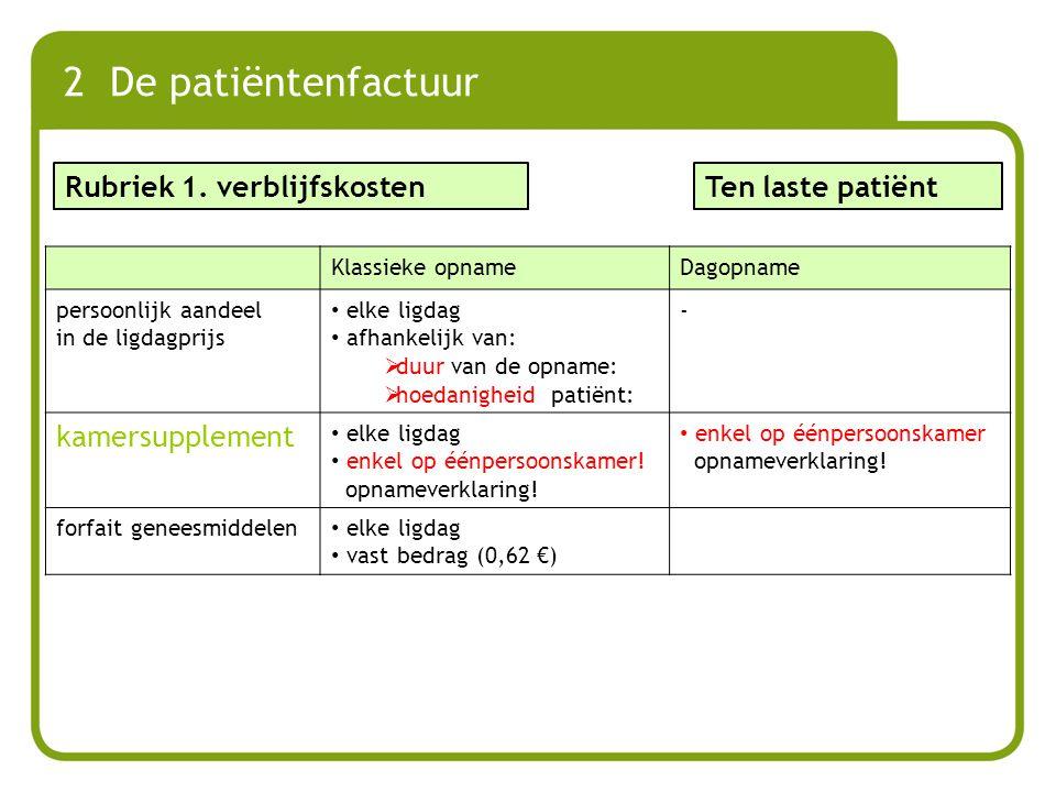 2 De patiëntenfactuur Klassieke opnameDagopname persoonlijk aandeel in de ligdagprijs elke ligdag afhankelijk van:  duur van de opname:  hoedanighei