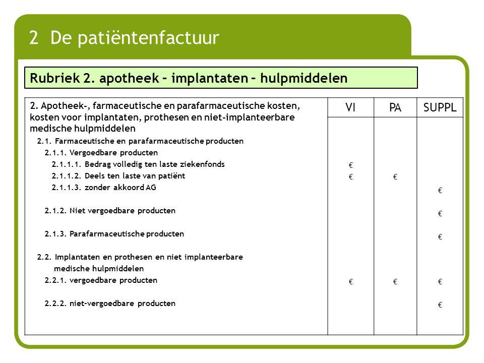 2 De patiëntenfactuur 2. Apotheek-, farmaceutische en parafarmaceutische kosten, kosten voor implantaten, prothesen en niet-implanteerbare medische hu