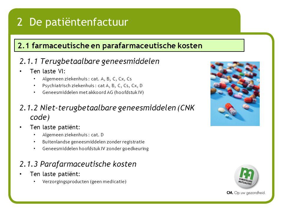 2 De patiëntenfactuur 2.1.1 Terugbetaalbare geneesmiddelen Ten laste VI: Algemeen ziekenhuis : cat. A, B, C, Cx, Cs Psychiatrisch ziekenhuis : cat A,