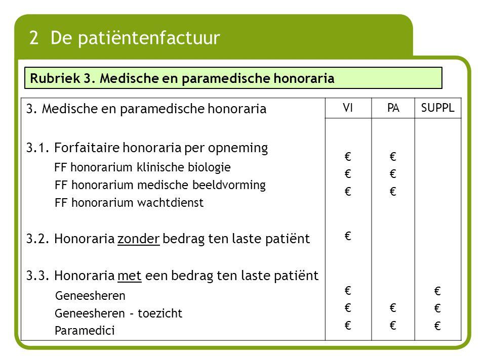 3. Medische en paramedische honoraria 3.1. Forfaitaire honoraria per opneming FF honorarium klinische biologie FF honorarium medische beeldvorming FF