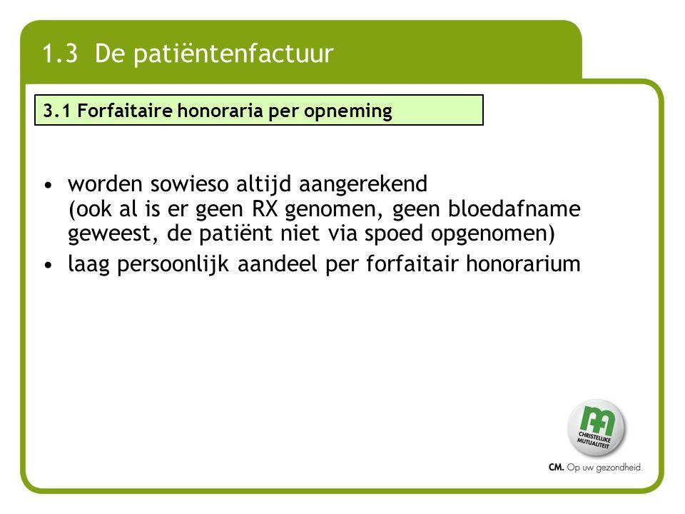 1.3 De patiëntenfactuur worden sowieso altijd aangerekend (ook al is er geen RX genomen, geen bloedafname geweest, de patiënt niet via spoed opgenomen