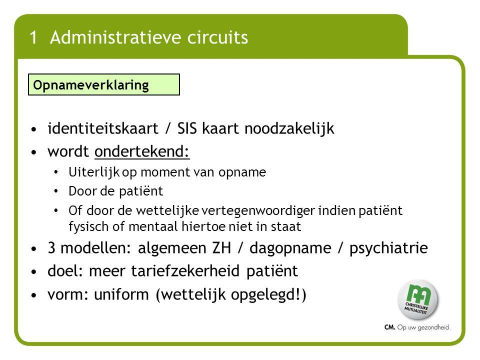 1 Administratieve circuits identiteitskaart / SIS kaart noodzakelijk wordt ondertekend: Uiterlijk op moment van opname Door de patiënt Of door de wett