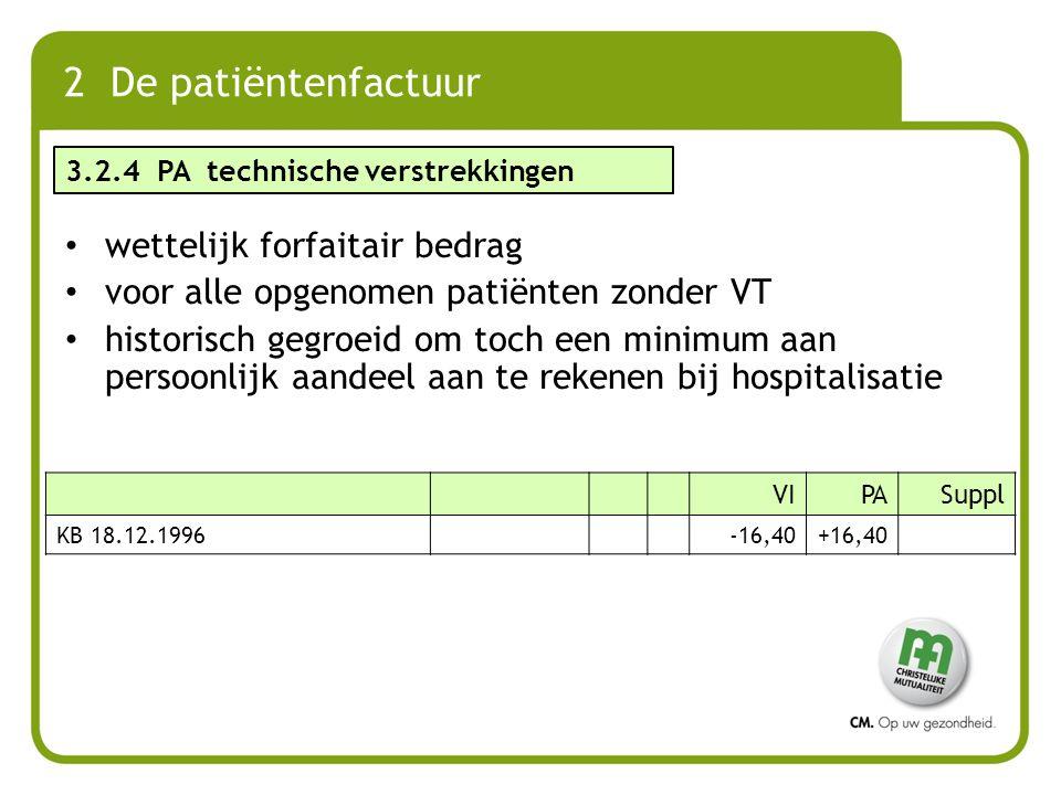 wettelijk forfaitair bedrag voor alle opgenomen patiënten zonder VT historisch gegroeid om toch een minimum aan persoonlijk aandeel aan te rekenen bij
