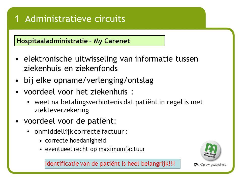 1 Administratieve circuits elektronische uitwisseling van informatie tussen ziekenhuis en ziekenfonds bij elke opname/verlenging/ontslag voordeel voor
