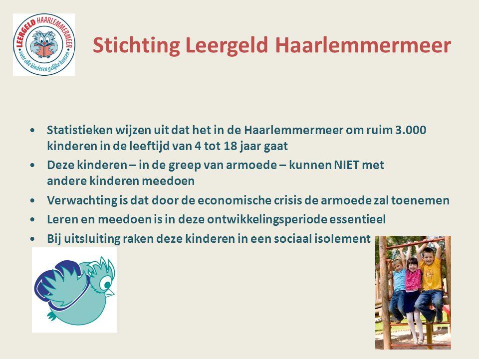 Stichting Leergeld Haarlemmermeer Statistieken wijzen uit dat het in de Haarlemmermeer om ruim 3.000 kinderen in de leeftijd van 4 tot 18 jaar gaat De