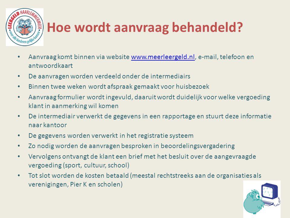 Hoe wordt aanvraag behandeld? Aanvraag komt binnen via website www.meerleergeld.nl, e-mail, telefoon en antwoordkaartwww.meerleergeld.nl De aanvragen