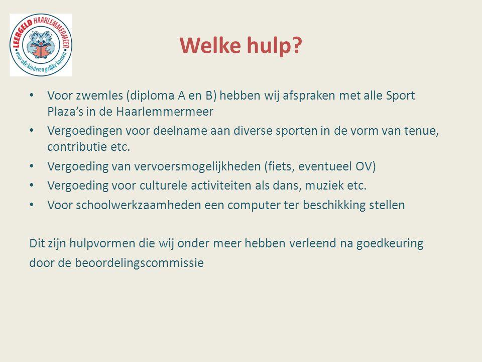 Welke hulp? Voor zwemles (diploma A en B) hebben wij afspraken met alle Sport Plaza's in de Haarlemmermeer Vergoedingen voor deelname aan diverse spor
