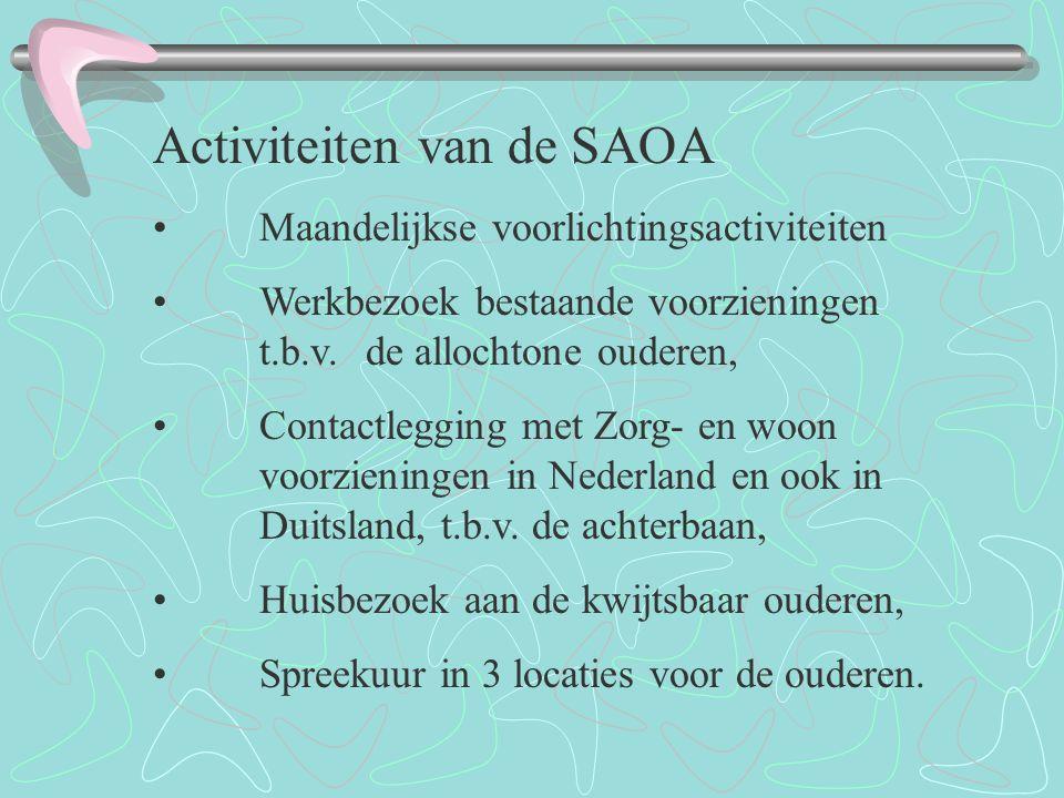 SAOA (STICHTING ALLOCHTONE OUDEREN ALMELO) heeft door haar eigen initiatief sinds begin 2008 in 3 locaties spreekuur gerealiseerd, voor de allochtone ouderen.