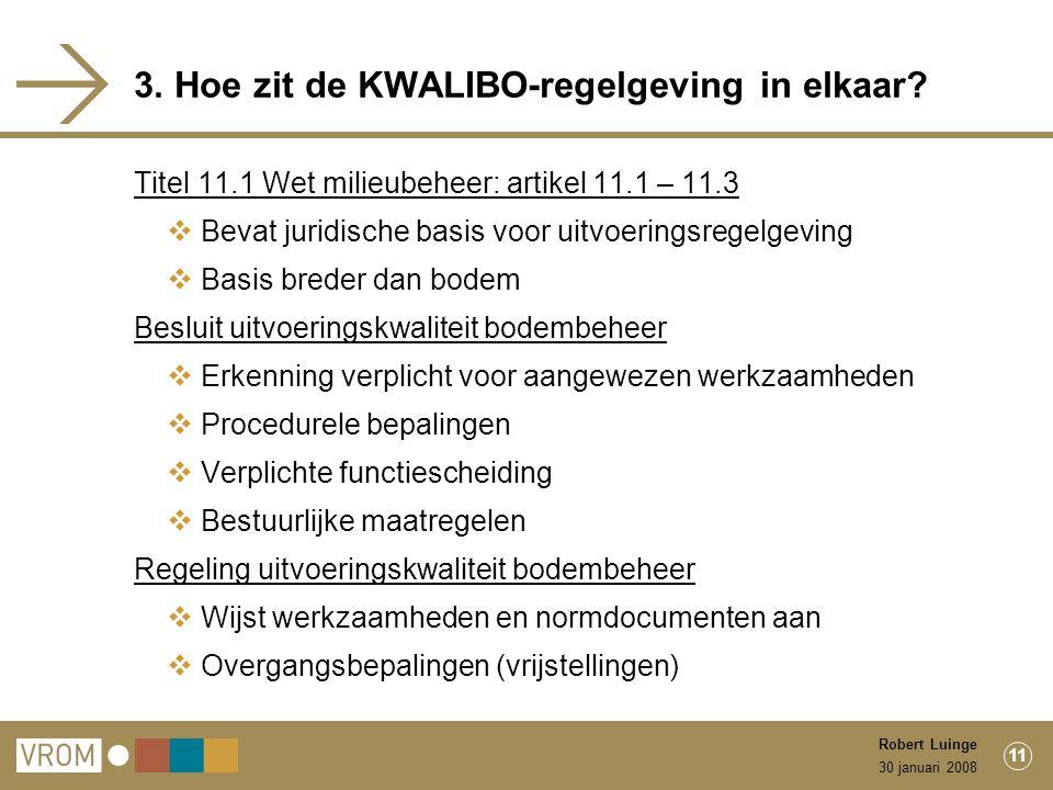 30 januari 2008 Robert Luinge 11 3. Hoe zit de KWALIBO-regelgeving in elkaar.