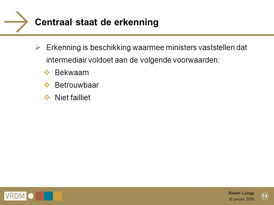 30 januari 2008 Robert Luinge 13 Centraal staat de erkenning  Erkenning is beschikking waarmee ministers vaststellen dat intermediair voldoet aan de volgende voorwaarden:  Bekwaam  Betrouwbaar  Niet failliet