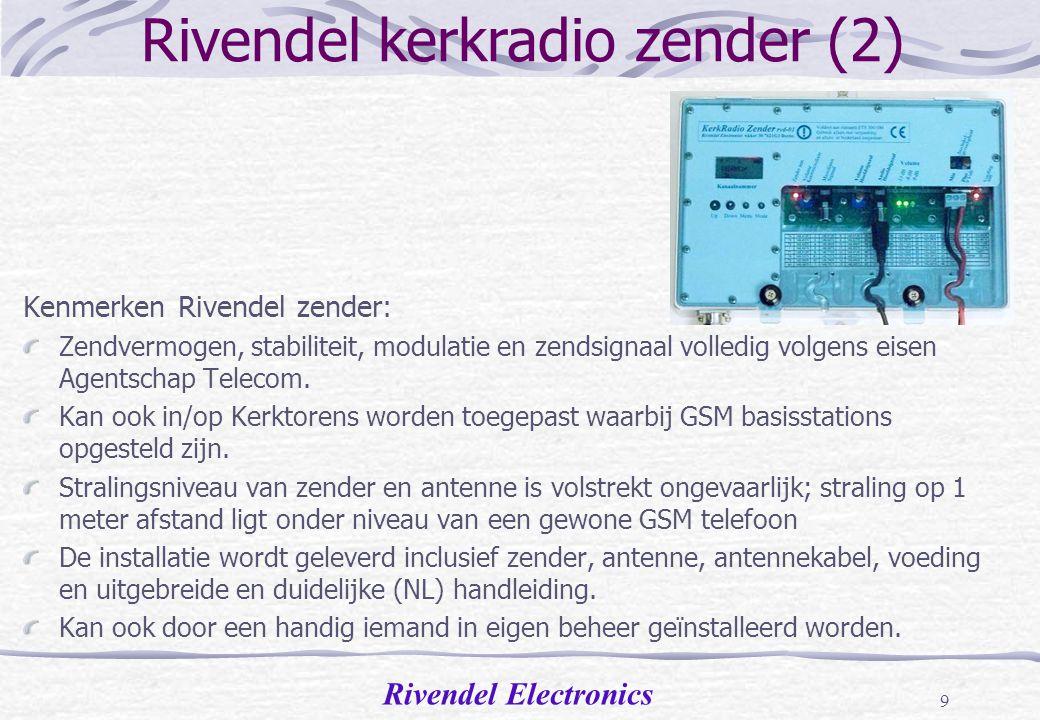 Rivendel Electronics 8 Rivendel kerkradio zender (1) Kenmerken Rivendel zender: Zeer robuuste volledig gefreesde constructie.