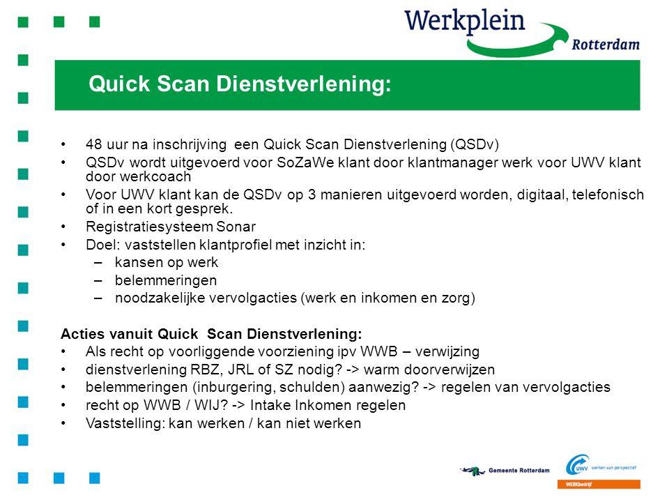 9 Klik hier om tekst in te voegen 48 uur na inschrijving een Quick Scan Dienstverlening (QSDv) QSDv wordt uitgevoerd voor SoZaWe klant door klantmanag