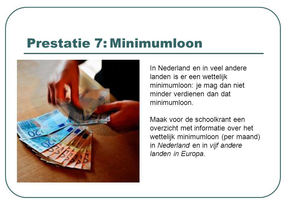 Prestatie 7: Minimumloon In Nederland en in veel andere landen is er een wettelijk minimumloon: je mag dan niet minder verdienen dan dat minimumloon.