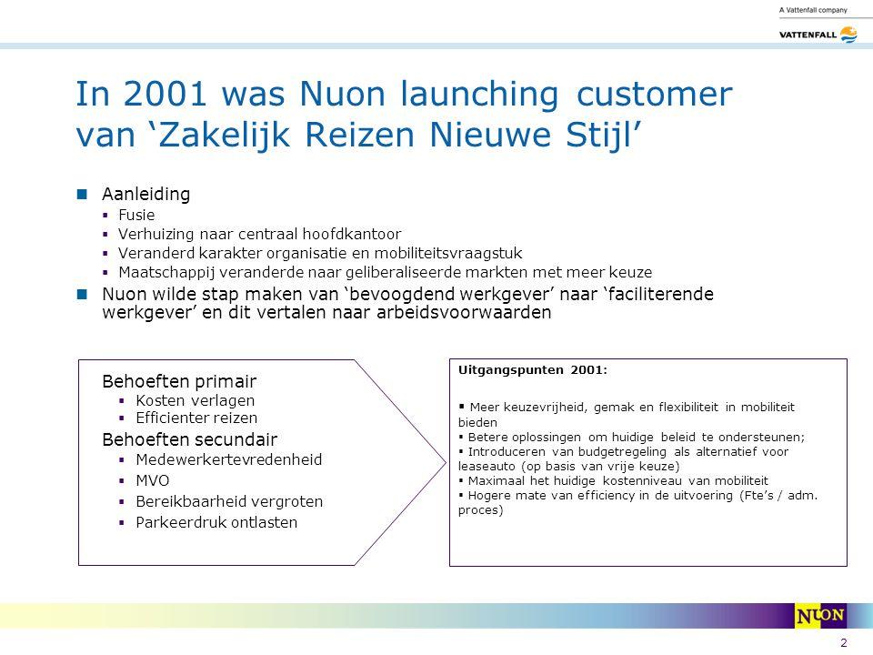 2 In 2001 was Nuon launching customer van 'Zakelijk Reizen Nieuwe Stijl' Aanleiding  Fusie  Verhuizing naar centraal hoofdkantoor  Veranderd karakt
