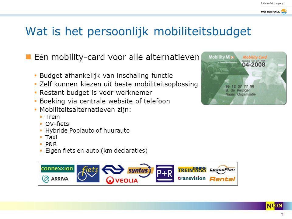 7 Wat is het persoonlijk mobiliteitsbudget E é n mobility-card voor alle alternatieven  Budget afhankelijk van inschaling functie  Zelf kunnen kieze