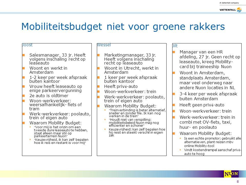 8 Mobiliteitsbudget niet voor groene rakkers Joost Salesmanager, 33 jr. Heeft volgens inschaling recht op leaseauto Woont en werkt in Amsterdam 1-2 ke