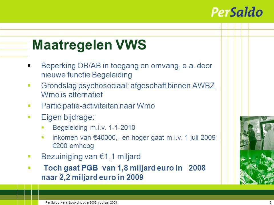 3Per Saldo, verantwoording over 2008, voorjaar 2009 De grondslagen voor AWBZ-zorg zijn: 1.