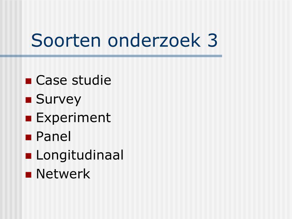 Soorten onderzoek 3 Case studie Survey Experiment Panel Longitudinaal Netwerk