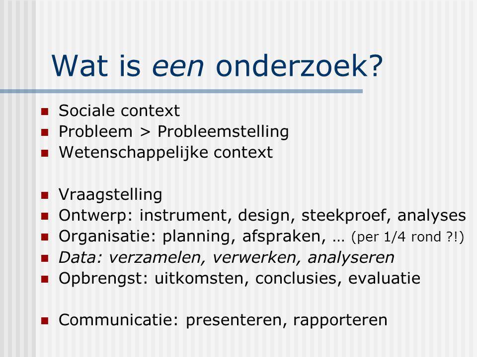 Wat is een onderzoek? Sociale context Probleem > Probleemstelling Wetenschappelijke context Vraagstelling Ontwerp: instrument, design, steekproef, ana