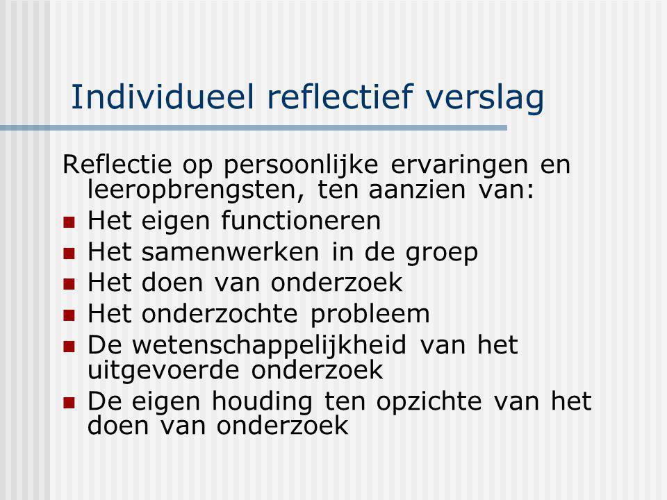 Individueel reflectief verslag Reflectie op persoonlijke ervaringen en leeropbrengsten, ten aanzien van: Het eigen functioneren Het samenwerken in de