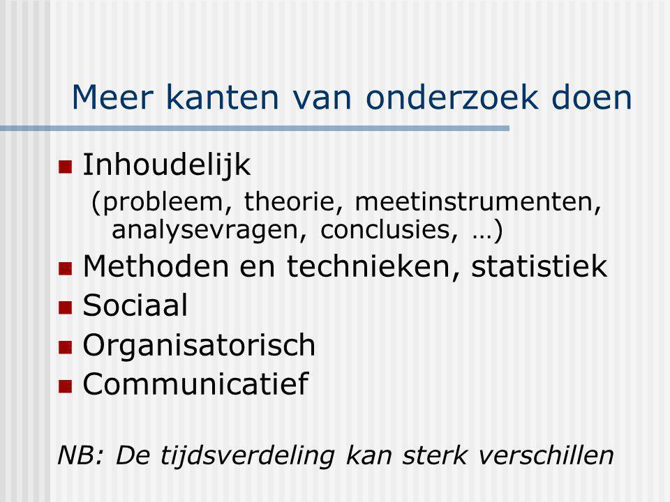 Meer kanten van onderzoek doen Inhoudelijk (probleem, theorie, meetinstrumenten, analysevragen, conclusies, …) Methoden en technieken, statistiek Soci