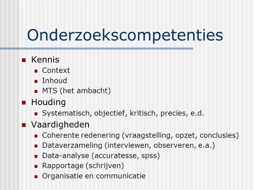 Onderzoekscompetenties Kennis Context Inhoud MTS (het ambacht) Houding Systematisch, objectief, kritisch, precies, e.d. Vaardigheden Coherente redener
