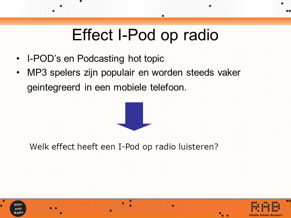 Effect I-Pod op radio I-POD's en Podcasting hot topic MP3 spelers zijn populair en worden steeds vaker geintegreerd in een mobiele telefoon. Welk effe